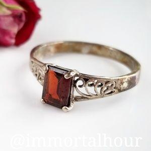 Jewelry - Sterling Silver 925 Garnet Ring SZ 10